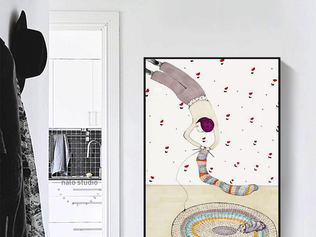 装饰画 其他装饰画 人物装饰画 > 织毛衣的男人现代北欧手绘创意抽象