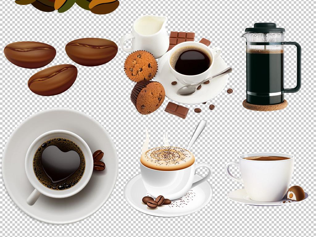 咖啡豆咖啡杯手绘卡通喝咖啡png免扣素材