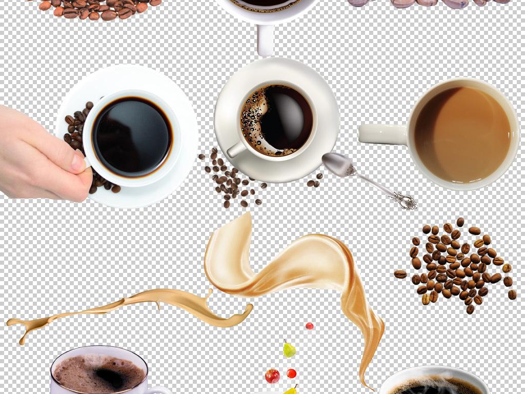 手绘卡通咖啡豆咖啡杯飞溅咖啡下午茶图标png免扣素材
