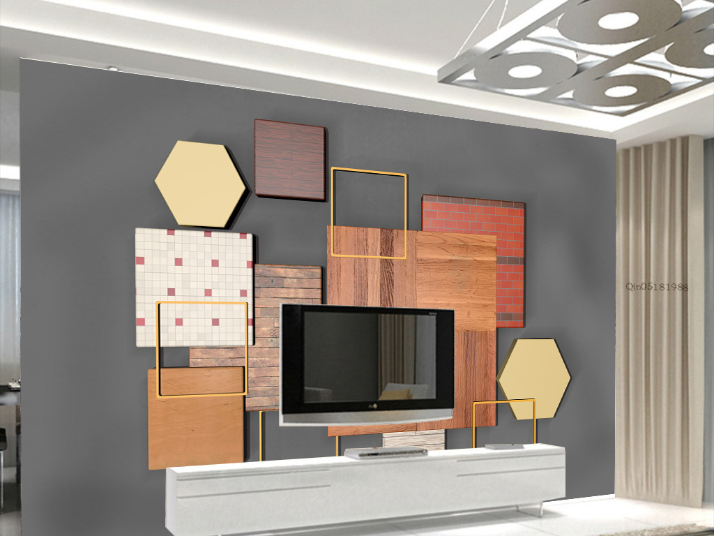 3d立体几何四边形木纹现代北欧电视背景墙图片