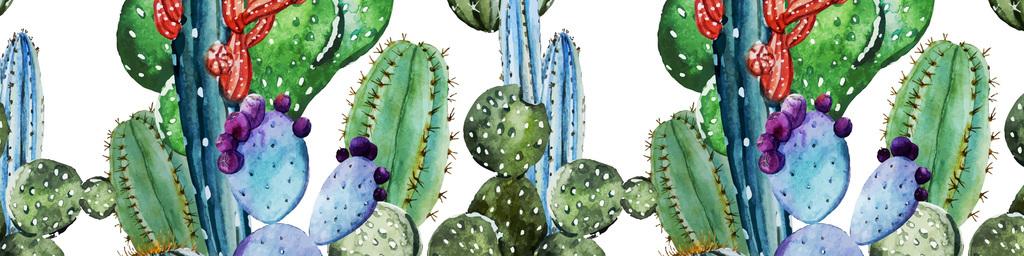 手绘水彩线描仙人掌无缝家纺服装图案设计