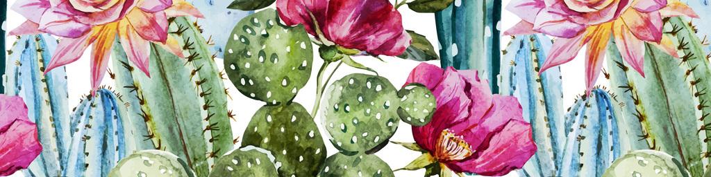 水彩手绘仙人掌热带植物花卉无缝图案