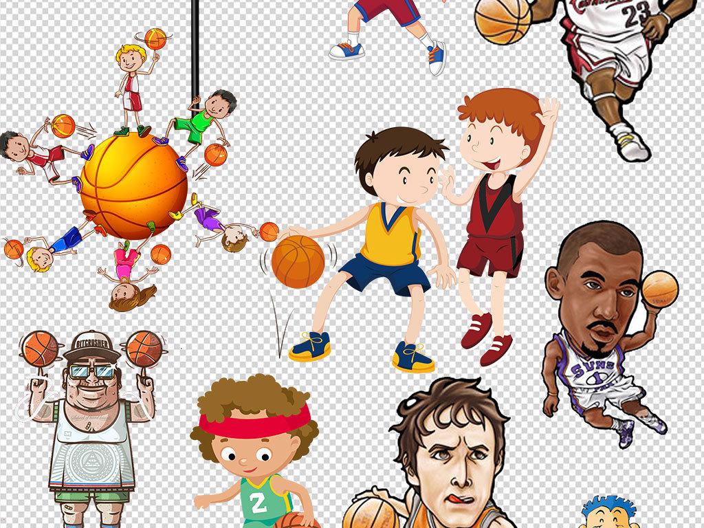 卡通少儿篮球招生海报素材体育背景元素