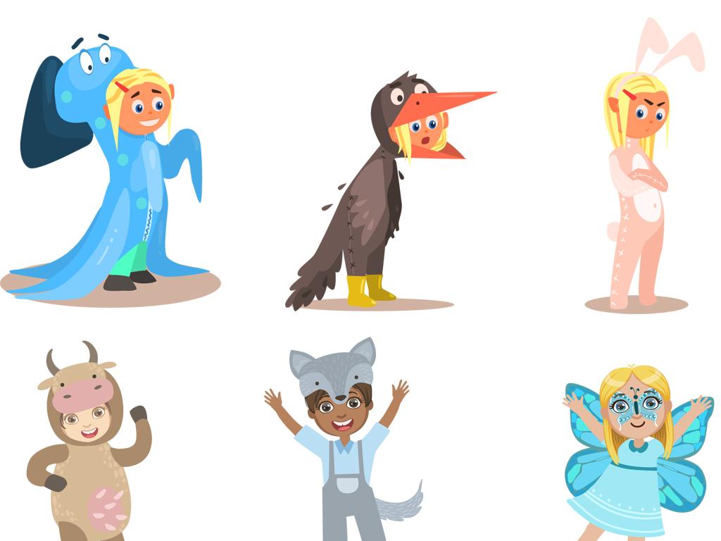 角色扮演卡通囹�a_卡通儿童角色扮演的男孩女孩矢量素材图片_ai模板下载