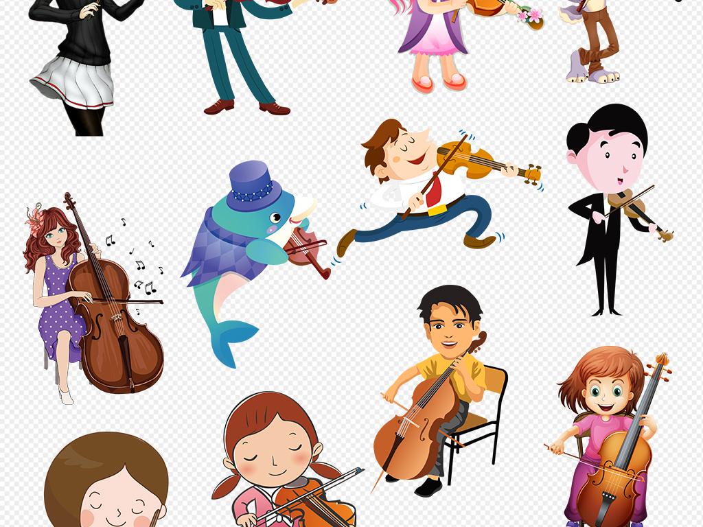 小女孩拉小提琴 卡通图片展示图片