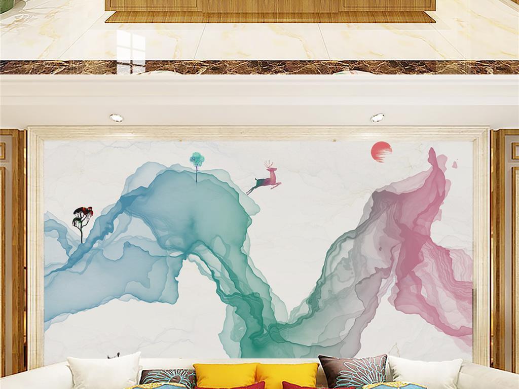 水彩抽象山手绘山水画背景墙