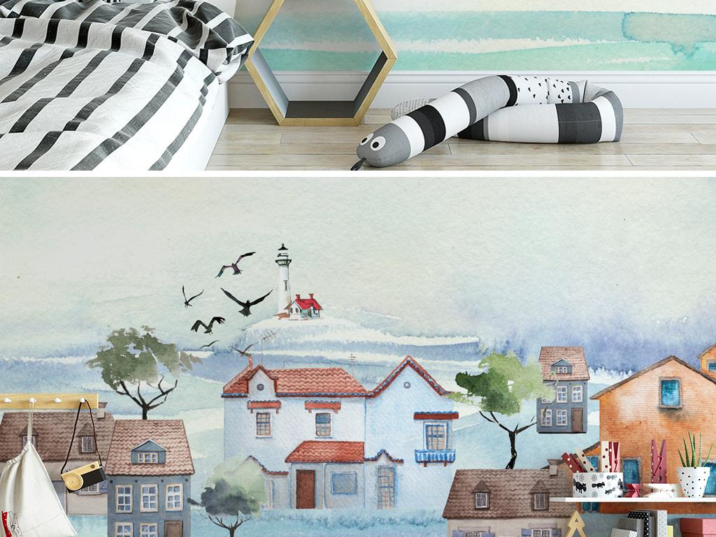 北欧极简水彩手绘卡通房子风景儿童房背景墙