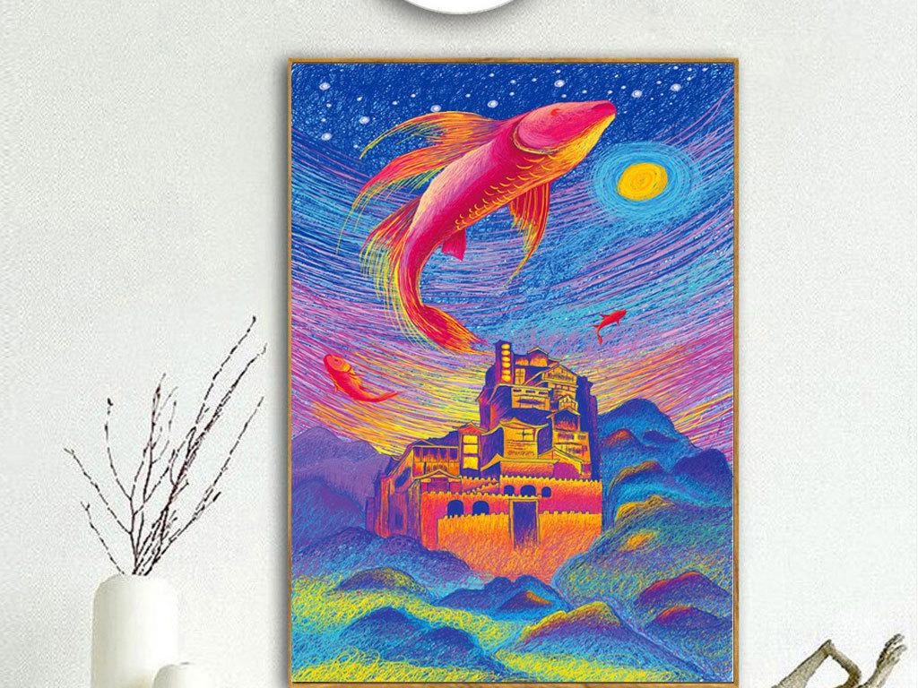 彩色线条手绘鲤鱼抽象现代装饰画