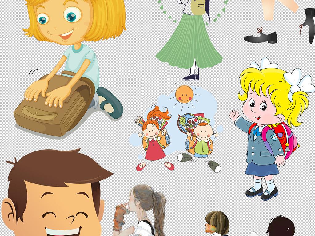 卡通小学生幼儿儿童学习上学培训png素材