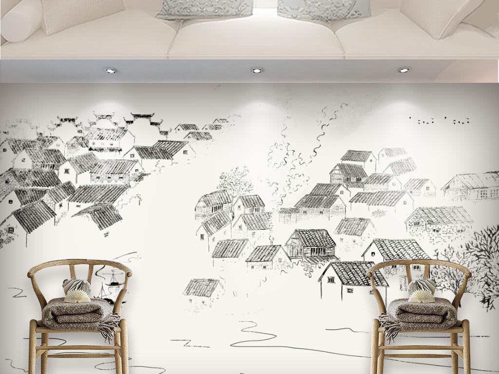 3现代简约手绘古风新中式江南水乡背景墙装饰画