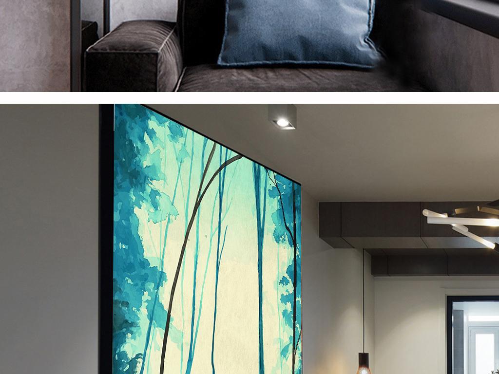 小清新极简北欧风格手绘麋鹿森林无框画素材