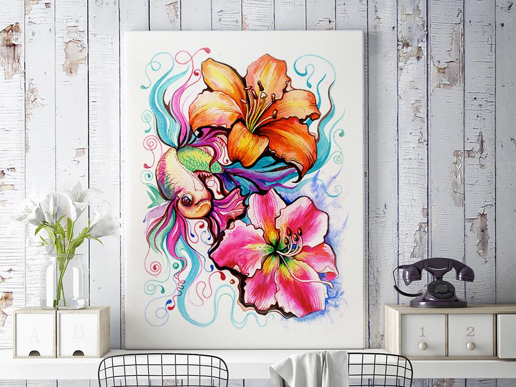 新中式手绘插画花卉锦鲤民俗装饰画三联画