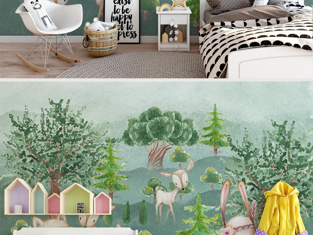 手绘卡通动物森林儿童房背景墙