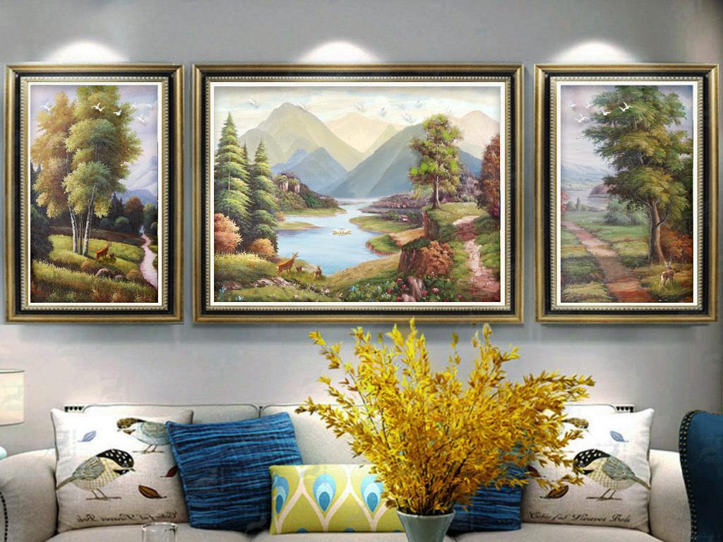 手绘油画风景山水欧式客厅发财树装饰画