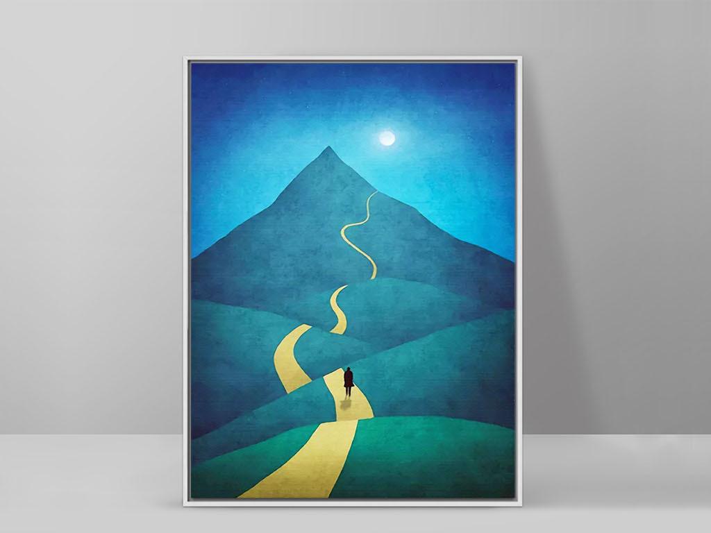 道路曲折前途光明北欧抽象手绘风景装饰画