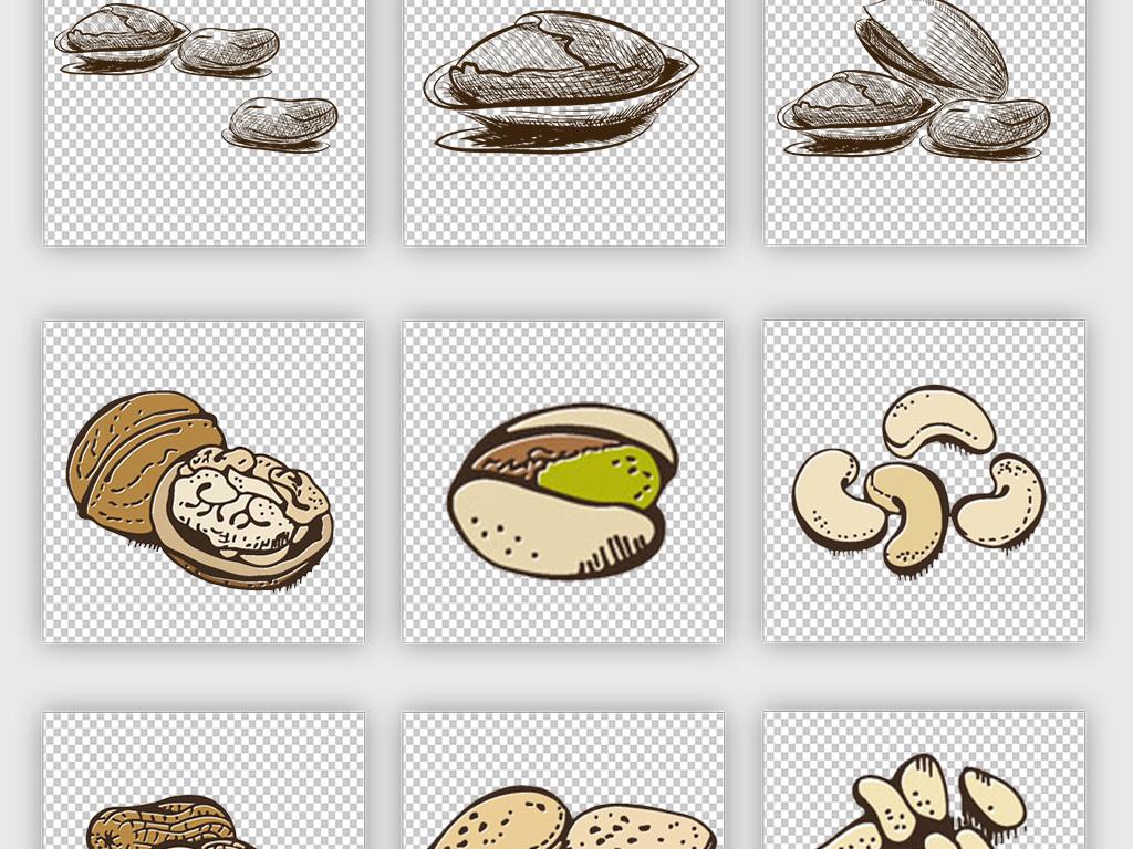 卡通手绘坚果水果食品海报素材淘宝素材