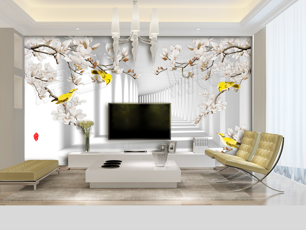 手绘工笔花鸟走廊3d电视背景墙壁画图片