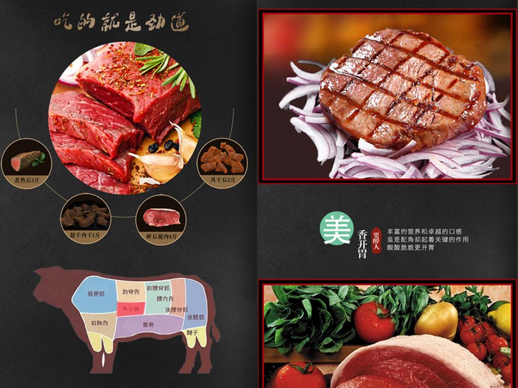 黑色大气冷鲜牛肉牛排详情页psd模板