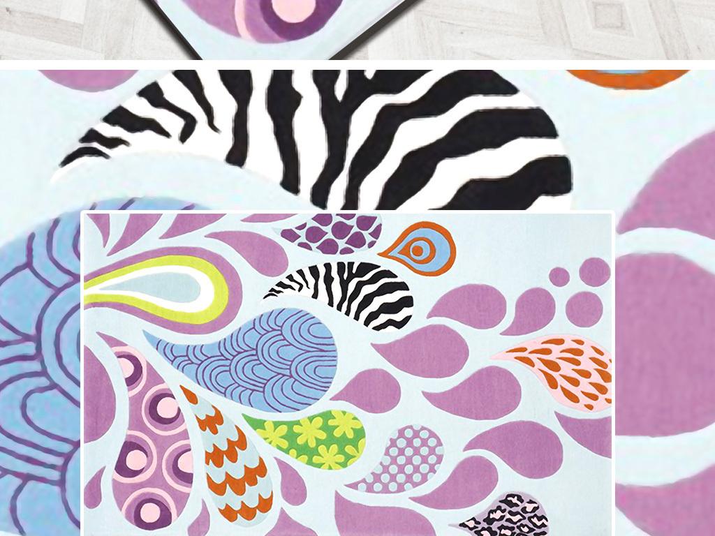 北欧简约手绘抽象花朵水滴厅卧室床边地毯