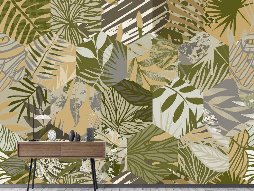 北欧手绘植物芭蕉叶壁画背景墙