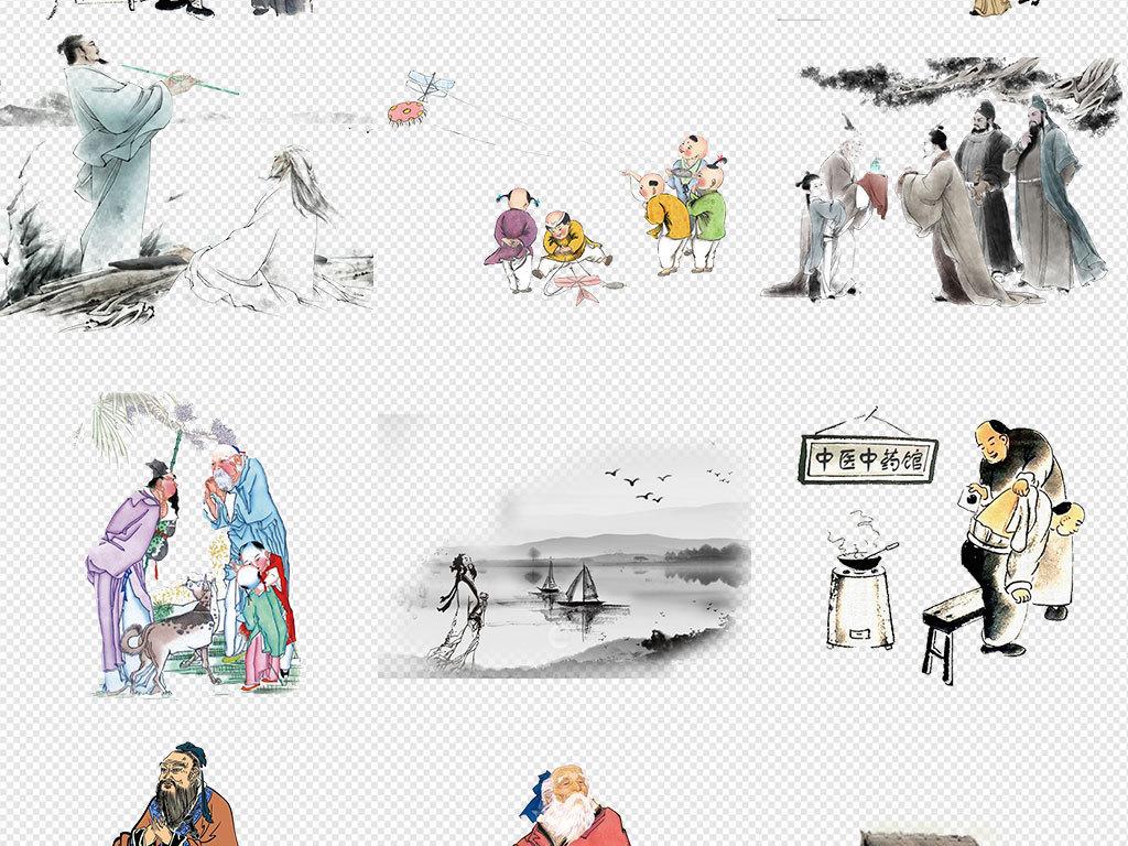 中国古代诗人作词人物海报素材