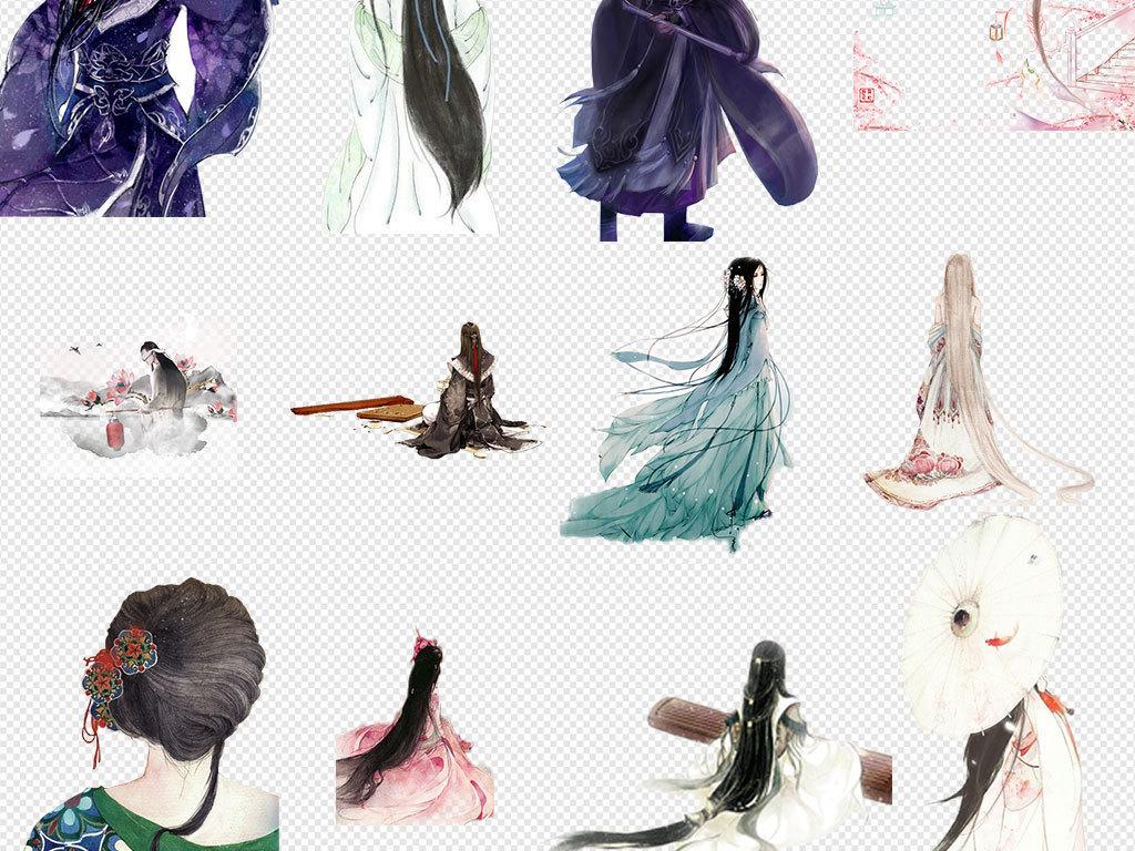 手绘水彩古风人物背影中国风古风古代美女古装古典女人水彩素材