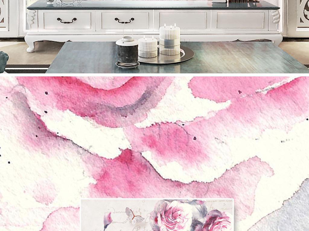 美式温馨手绘甜美花卉蝴蝶背景墙