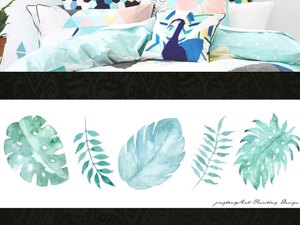 北欧现代手绘水彩植物叶子卧室床头画