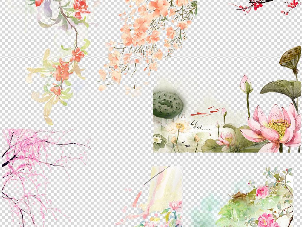 唯美古风水彩手绘插画背景PNG素材图片 模板下载 44.78MB 其他大全 图片