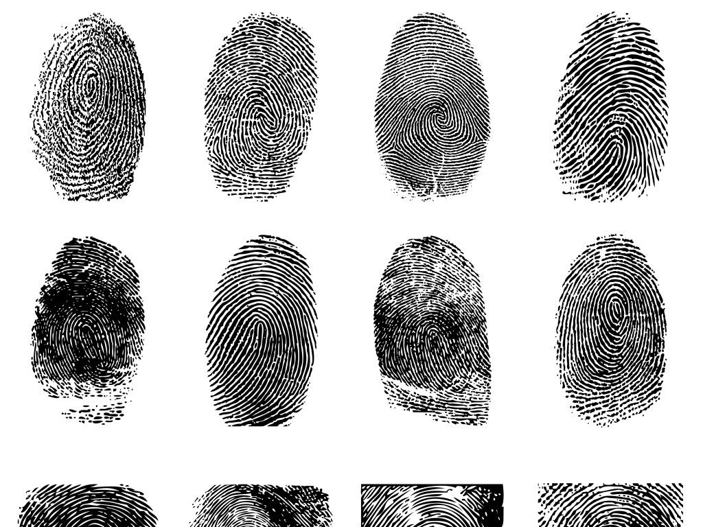 手绘彩色指纹手印微信扫描二维码矢量图