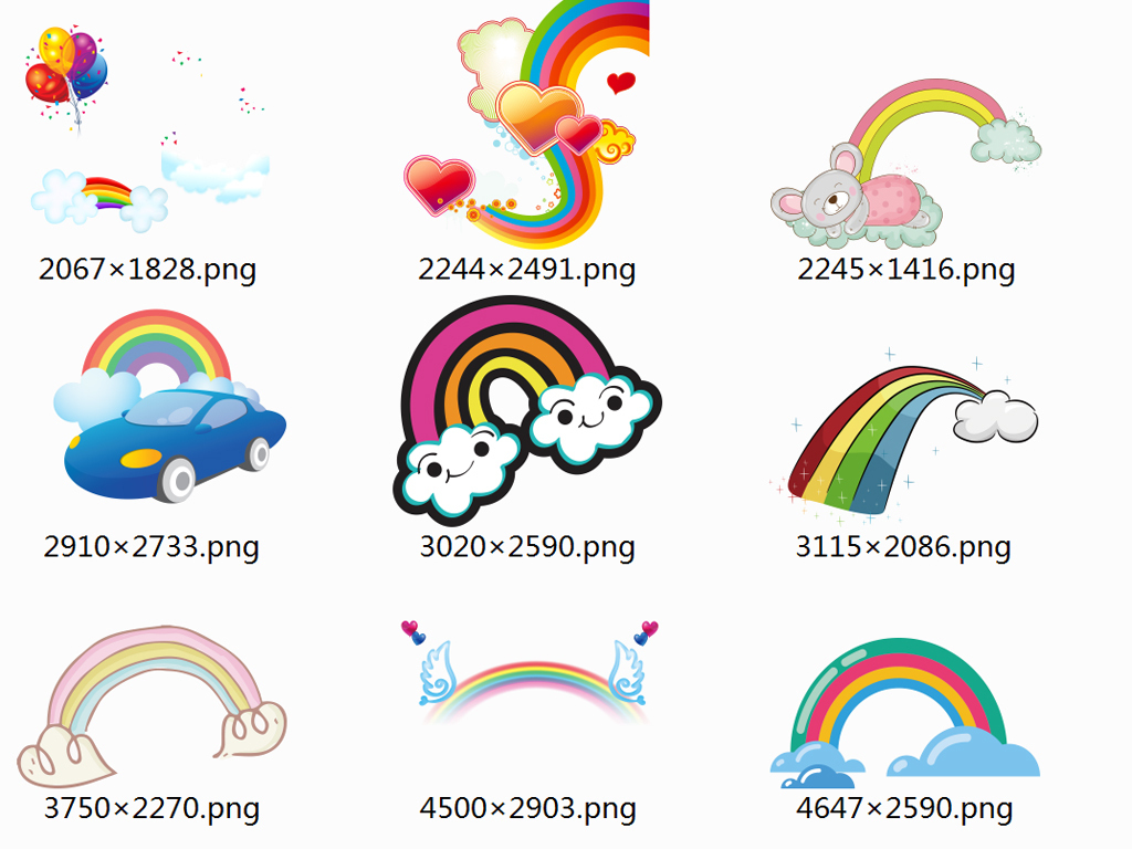 免抠元素 花纹边框 卡通手绘边框 > 50款超萌卡通彩虹png免抠素材
