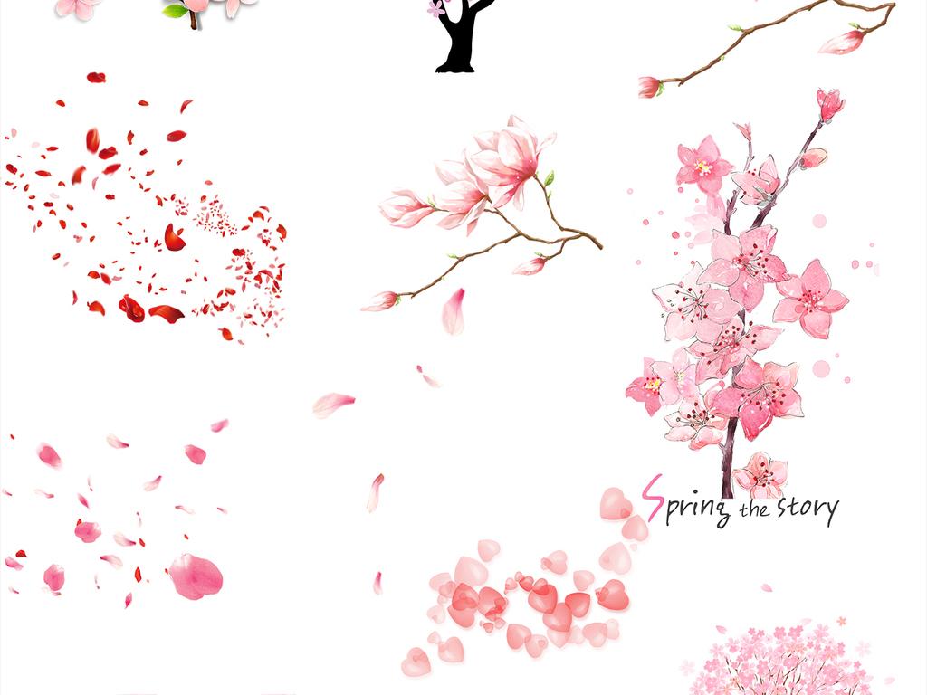 手绘桃花樱花花瓣png素材元素