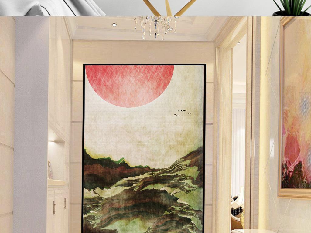 背景墙|装饰画 玄关 山水花鸟玄关图 > 欧式手绘落日飞鸟山水玄关图片
