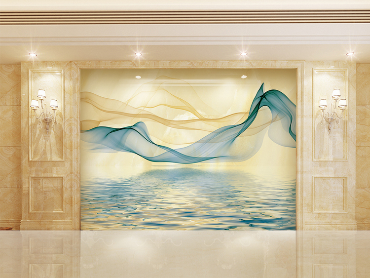 高清3D大理石纹山水花日出背景墙映像山河