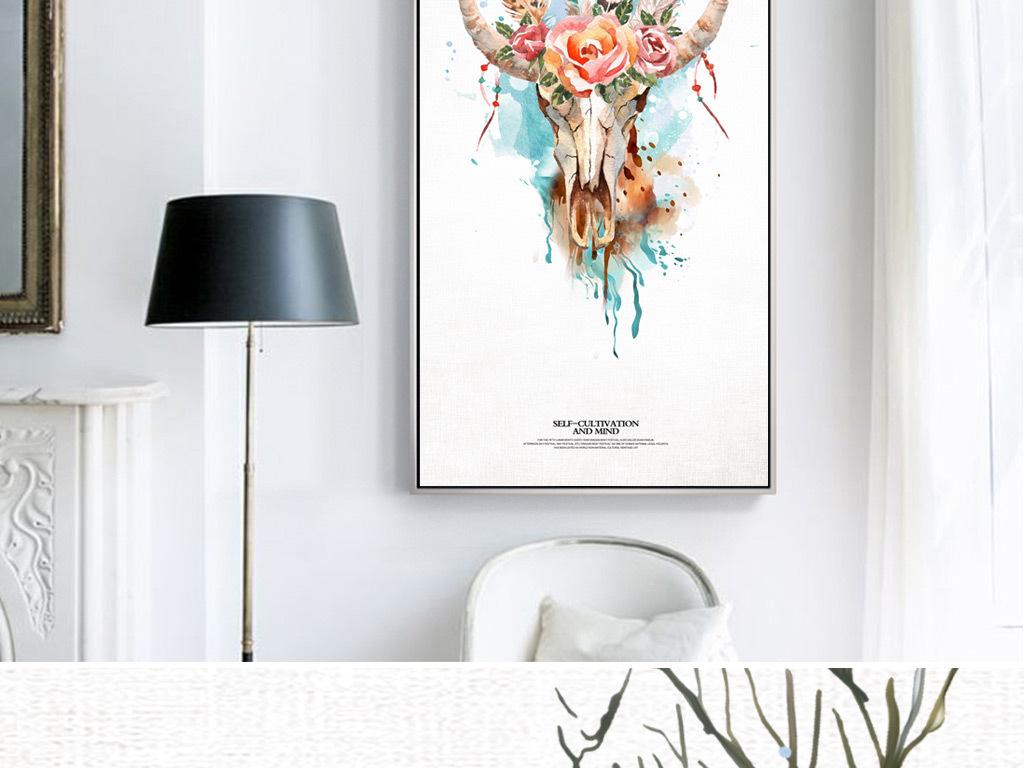 装饰画 北欧装饰画 动物装饰画 > 现代简约手绘鹿头花卉玄关客厅装饰