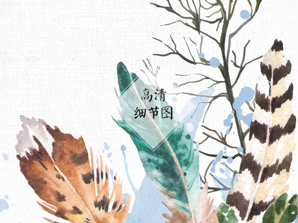 现代简约手绘鹿头花卉玄关客厅装饰画