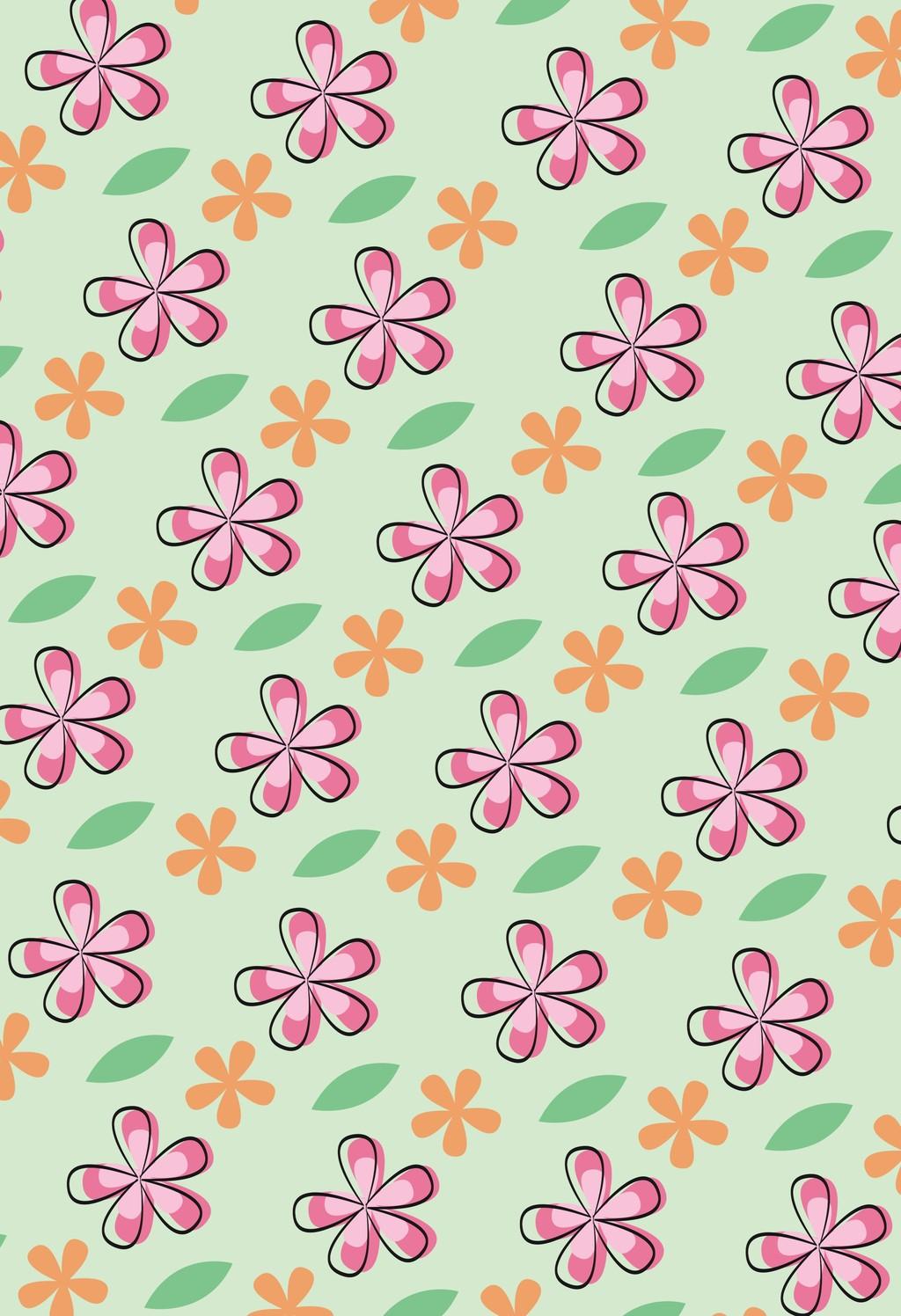 卡通植物花卉背景图案