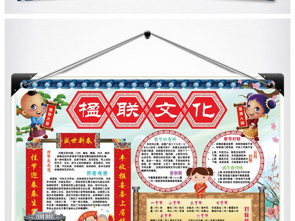 楹联文化小报春节新年春联对联天地传统习俗手抄小报