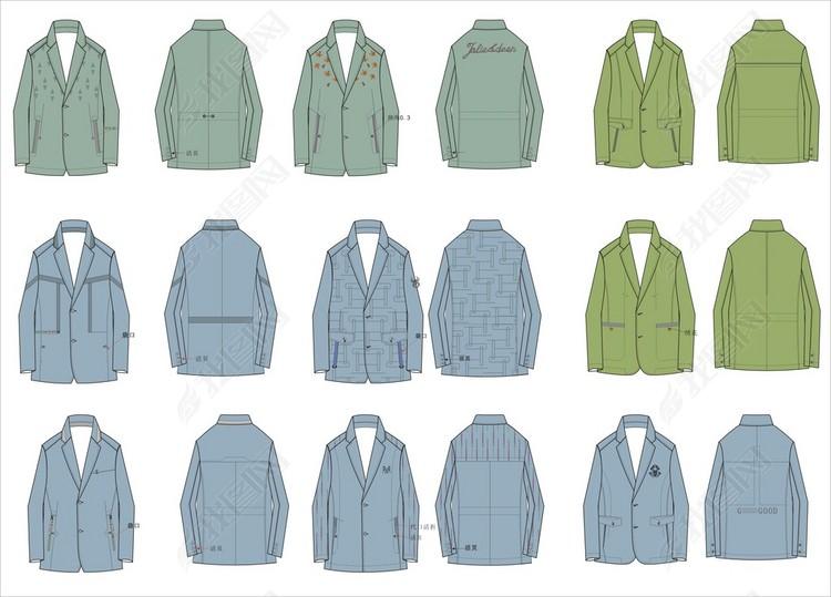 男装平驳领大衣派克正反面CDR款式图素材