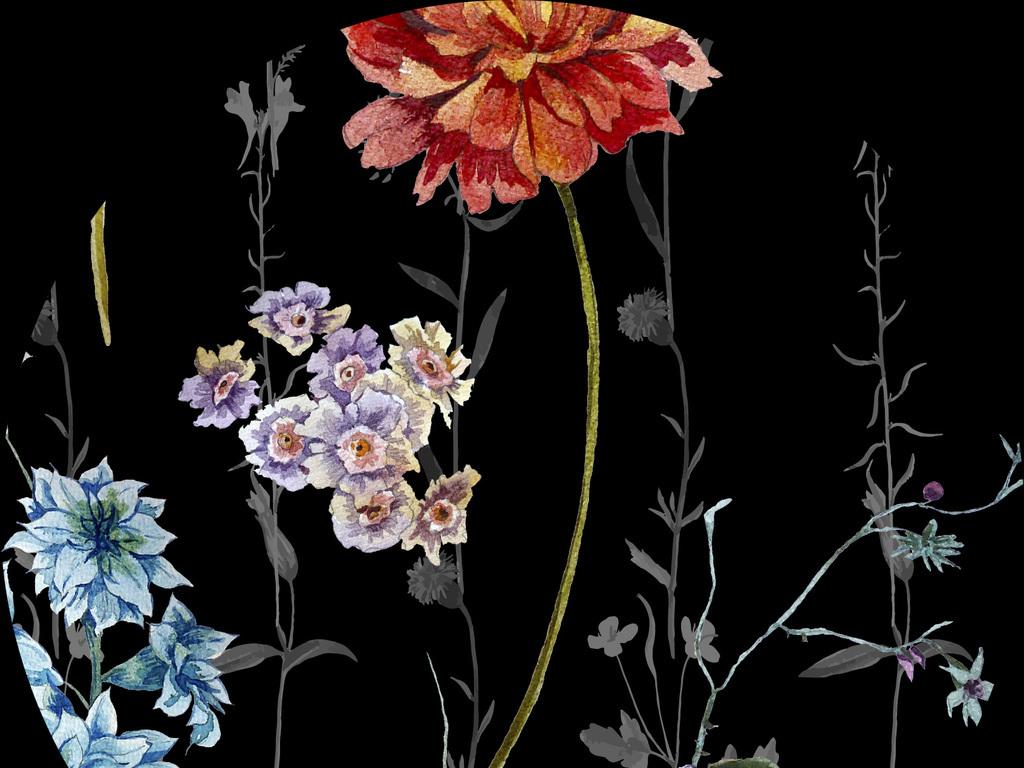 手绘水彩花卉无缝家纺服装图案设计图片_高清 位图(62