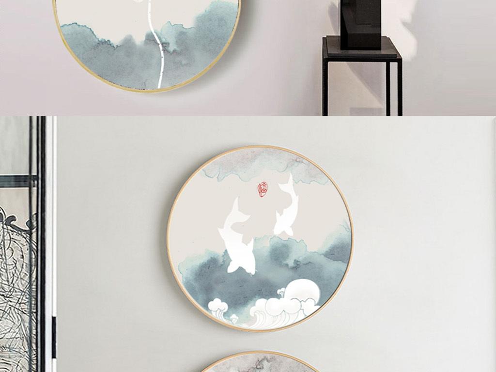 圆形新中式古风手绘花开富贵荷花装饰画