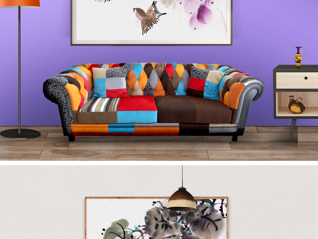 新中式手绘水墨现代叶子花鸟背景墙沙发图片设计素材