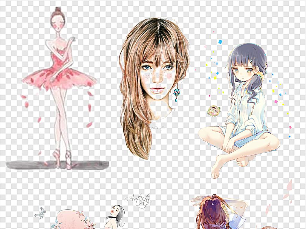 手绘少女可爱女孩