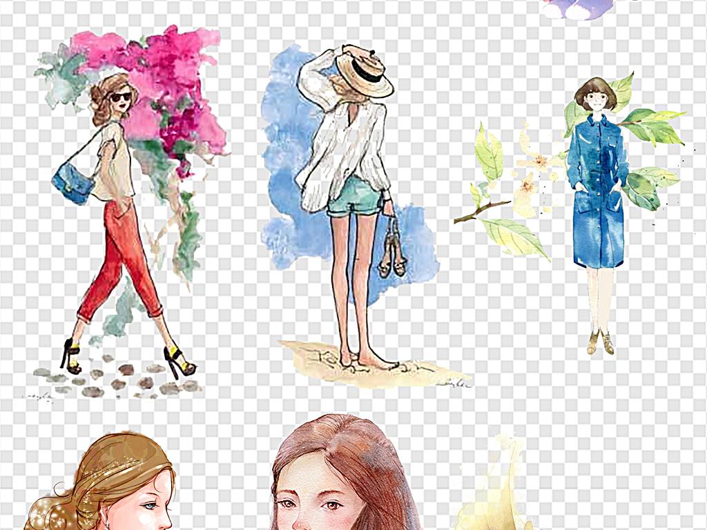 免抠元素 人物形象 美女 > 手绘少女卡通女孩  素材图片参数: 编号