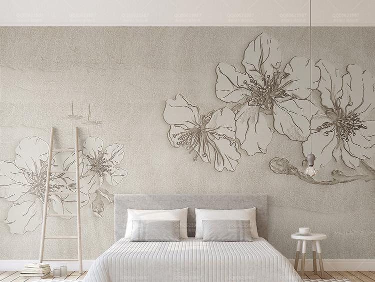 3d立体浮雕花朵米色纹理简约电视背景墙