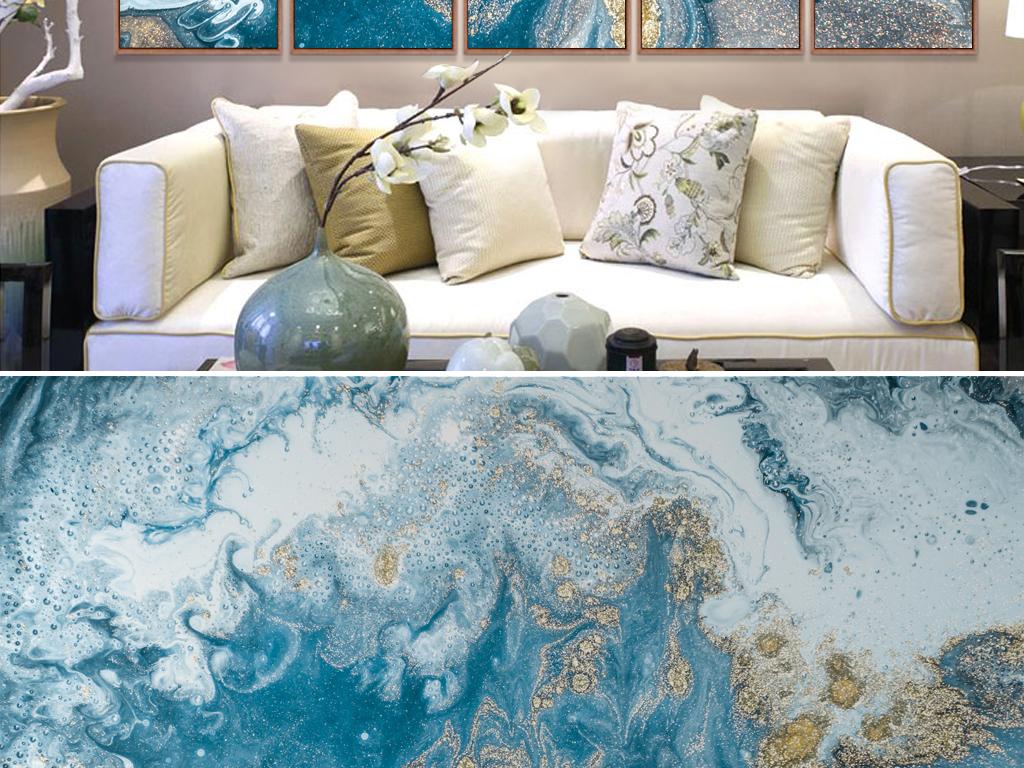 背景墙|装饰画 电视背景墙 中式电视背景墙 > 新中式淡蓝金色山水水墨图片
