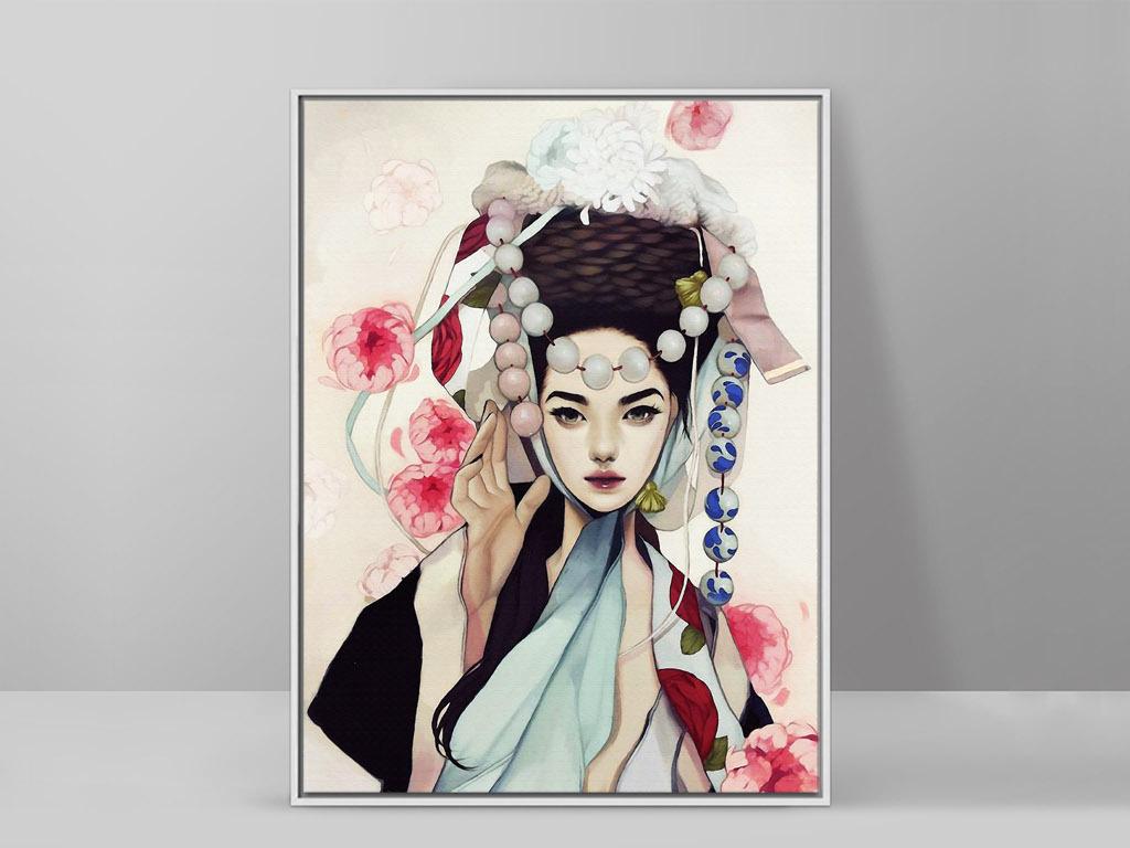 韩国朝鲜族民族服饰手绘美女人物客厅装饰画