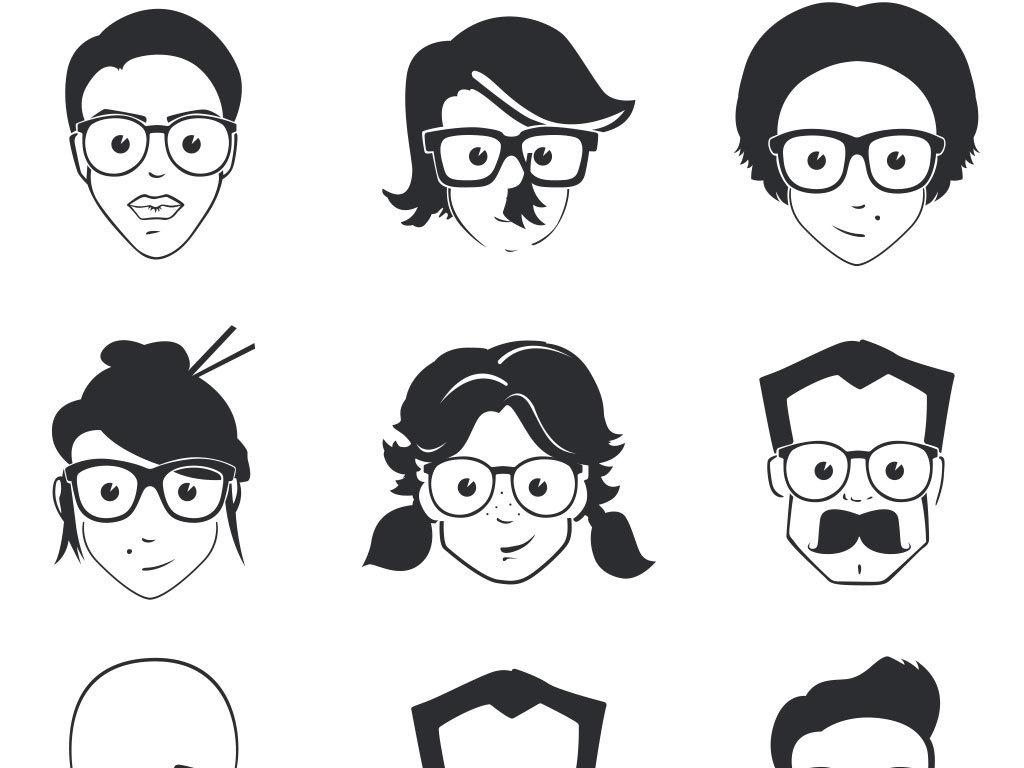 卡通人物头像造型上半身矢量图