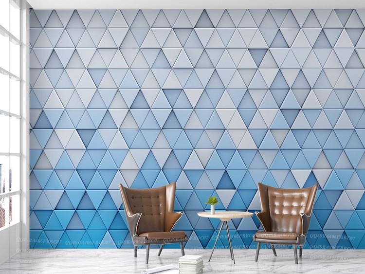3D立体淡雅三角形几何图形抽象背景墙