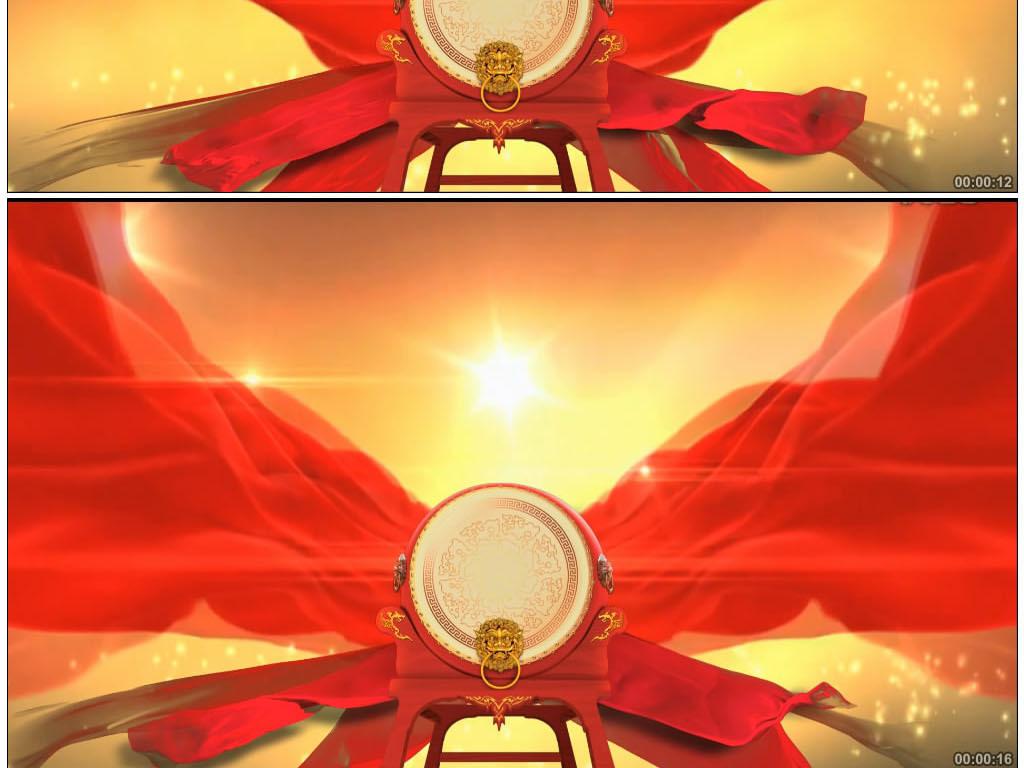 唯美大气大鼓红彩绸飘动视频素材模板下载 视频30.24MB 开场大气 背图片